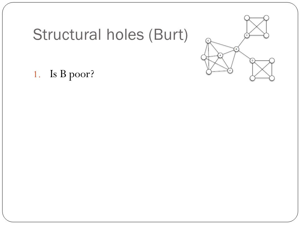 Structural holes (Burt) 1. Is B poor