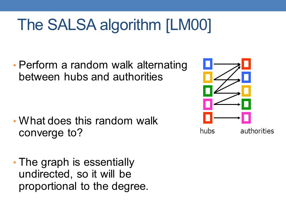 The SALSA algorithm [LM00] Perform a random walk alternating between hubs and authorities What does this random walk converge to? The graph is essenti