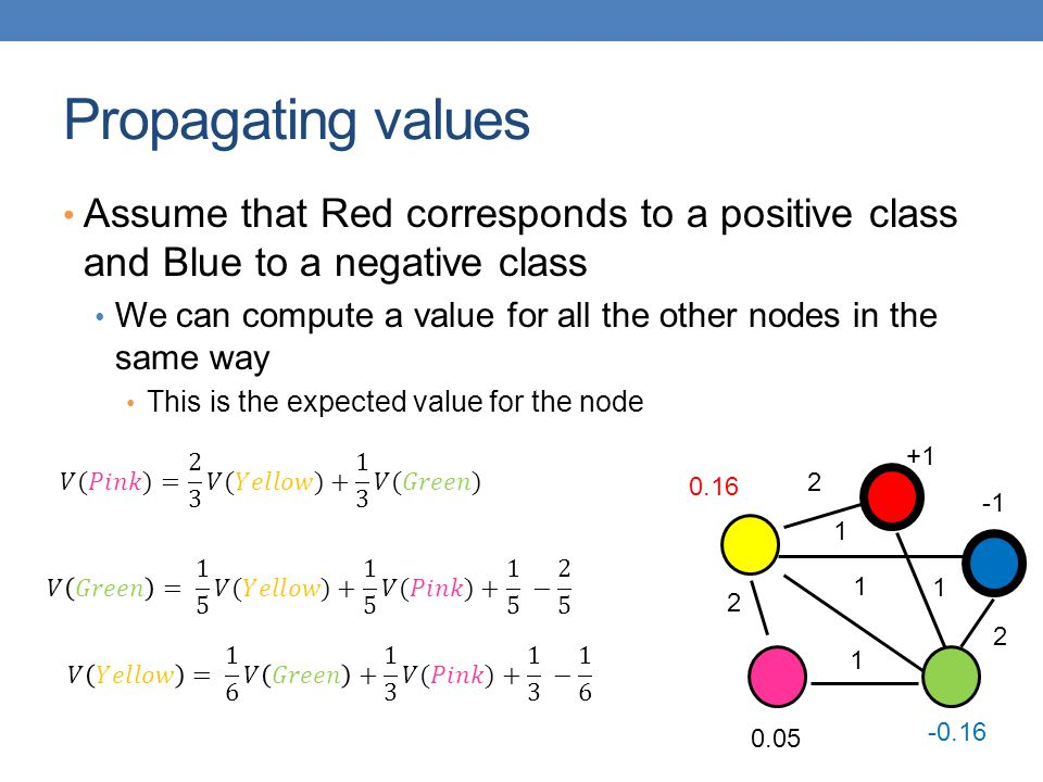 Propagating values Assume that Red corresponds to a positive class and Blue to a negative class We can compute a value for all the other nodes in the