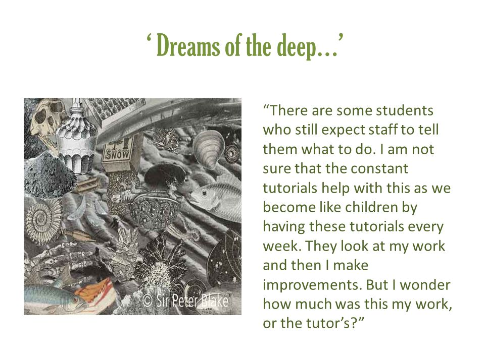 "' Dreams of the deep…' ""There are some students who still expect staff to tell them what to do. I am not sure that the constant tutorials help with th"
