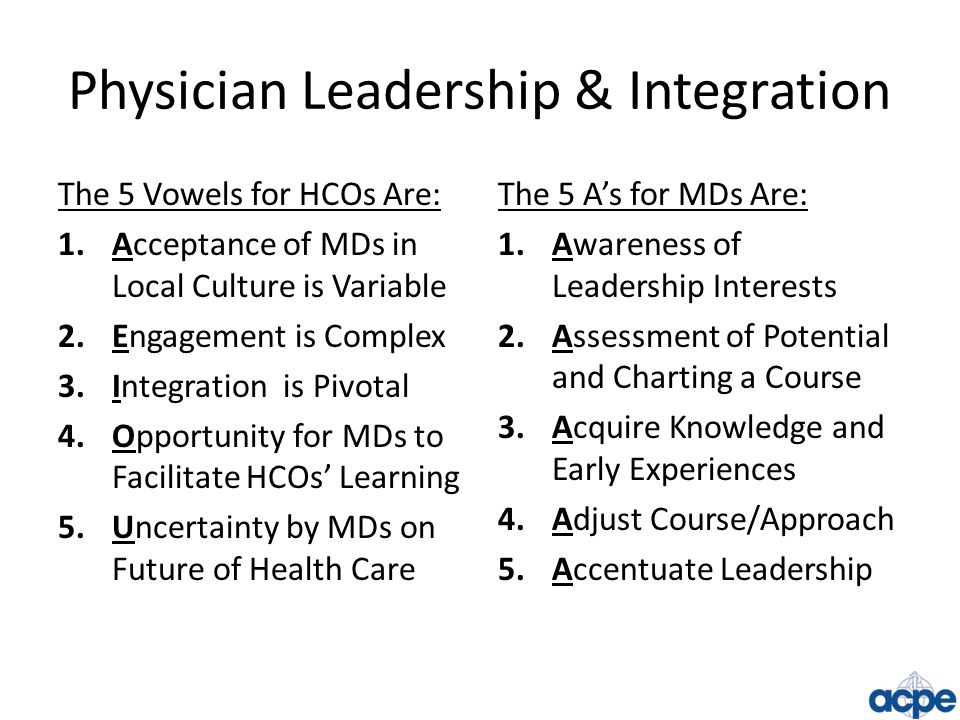 Physician Leadership & Integration The 5 Vowels for HCOs Are: 1.Acceptance of MDs in Local Culture is Variable 2.Engagement is Complex 3.Integration is Pivotal 4.Opportunity for MDs to Facilitate HCOs' Learning 5.Uncertainty by MDs on Future of Health Care The 5 A's for MDs Are: 1.Awareness of Leadership Interests 2.Assessment of Potential and Charting a Course 3.Acquire Knowledge and Early Experiences 4.Adjust Course/Approach 5.Accentuate Leadership