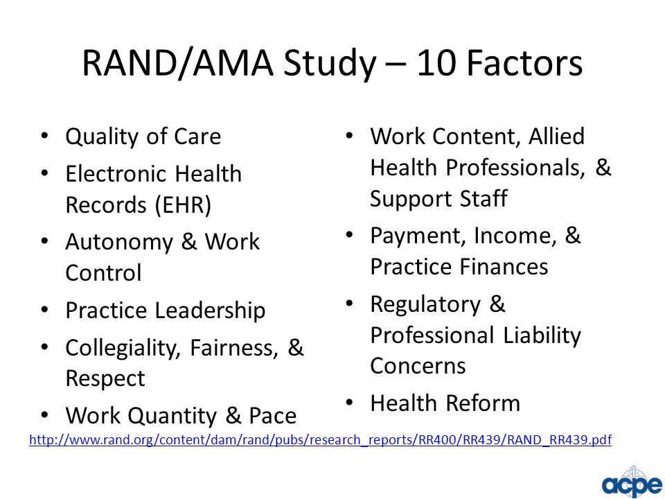 RAND/AMA Study – 10 Factors Quality of Care Electronic Health Records (EHR) Autonomy & Work Control Practice Leadership Collegiality, Fairness, & Respect Work Quantity & Pace Work Content, Allied Health Professionals, & Support Staff Payment, Income, & Practice Finances Regulatory & Professional Liability Concerns Health Reform http://www.rand.org/content/dam/rand/pubs/research_reports/RR400/RR439/RAND_RR439.pdf