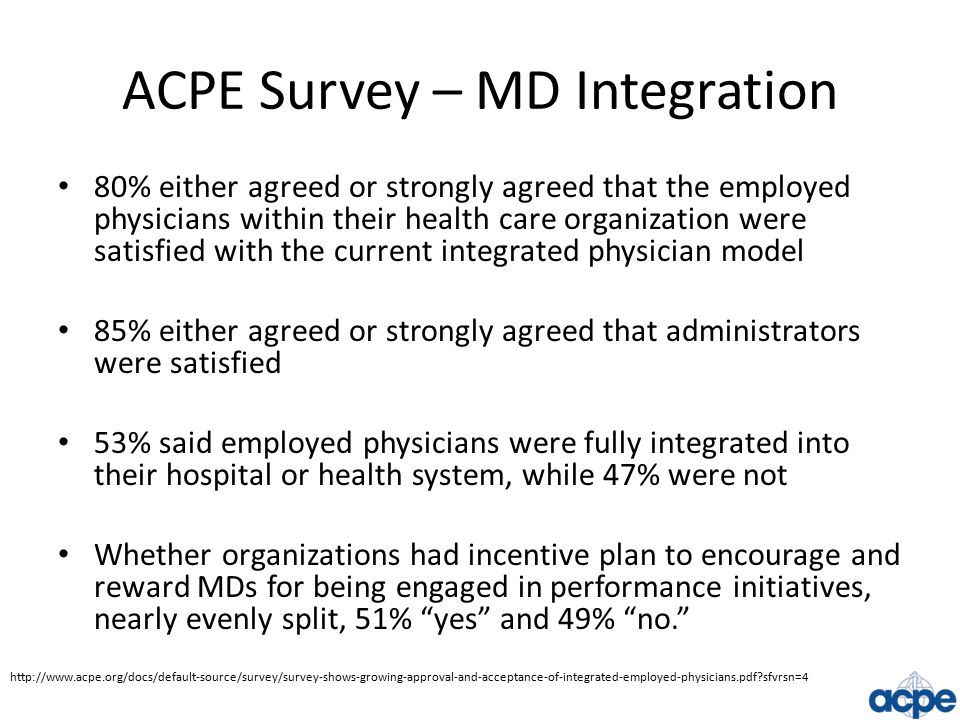 ACPE Survey – MD Integration 80% either agreed or strongly agreed that the employed physicians within their health care organization were satisfied with the current integrated physician model 85% either agreed or strongly agreed that administrators were satisfied 53% said employed physicians were fully integrated into their hospital or health system, while 47% were not Whether organizations had incentive plan to encourage and reward MDs for being engaged in performance initiatives, nearly evenly split, 51% yes and 49% no. http://www.acpe.org/docs/default-source/survey/survey-shows-growing-approval-and-acceptance-of-integrated-employed-physicians.pdf sfvrsn=4