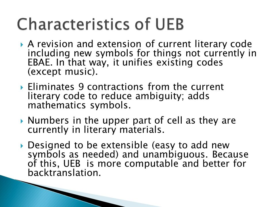  A revision and extension of current literary code including new symbols for things not currently in EBAE.