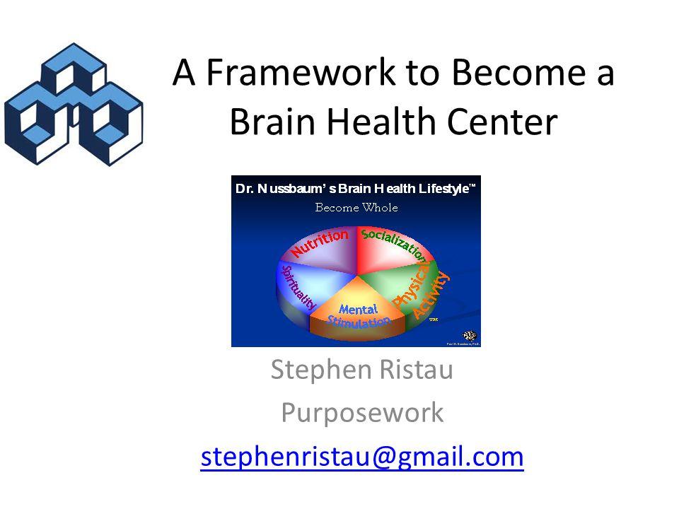 A Framework to Become a Brain Health Center Stephen Ristau Purposework stephenristau@gmail.com