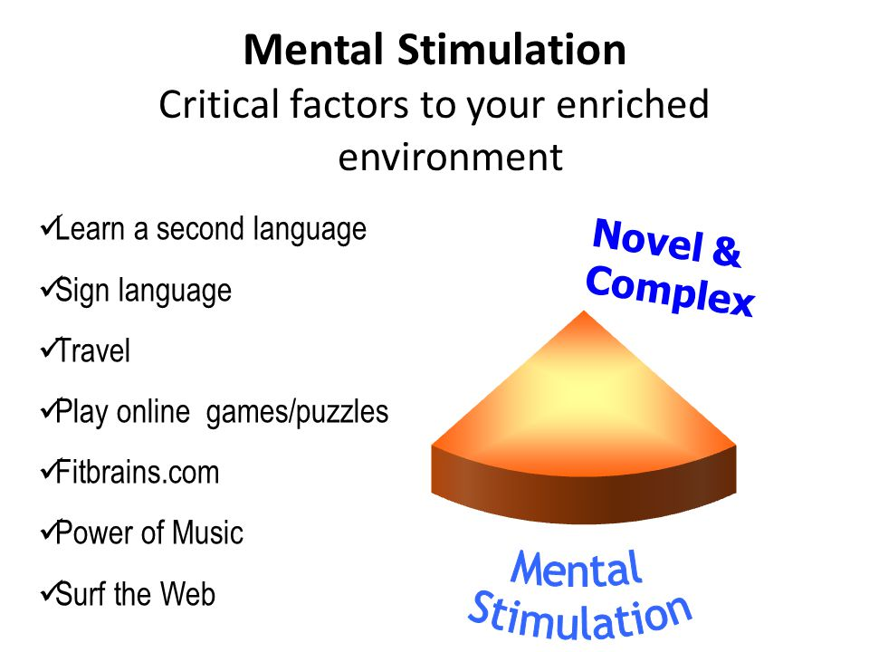 Learn a second language Sign language Travel Play online games/puzzles Fitbrains.com Power of Music Surf the Web Novel & Complex Critical factors to your enriched environment Mental Stimulation