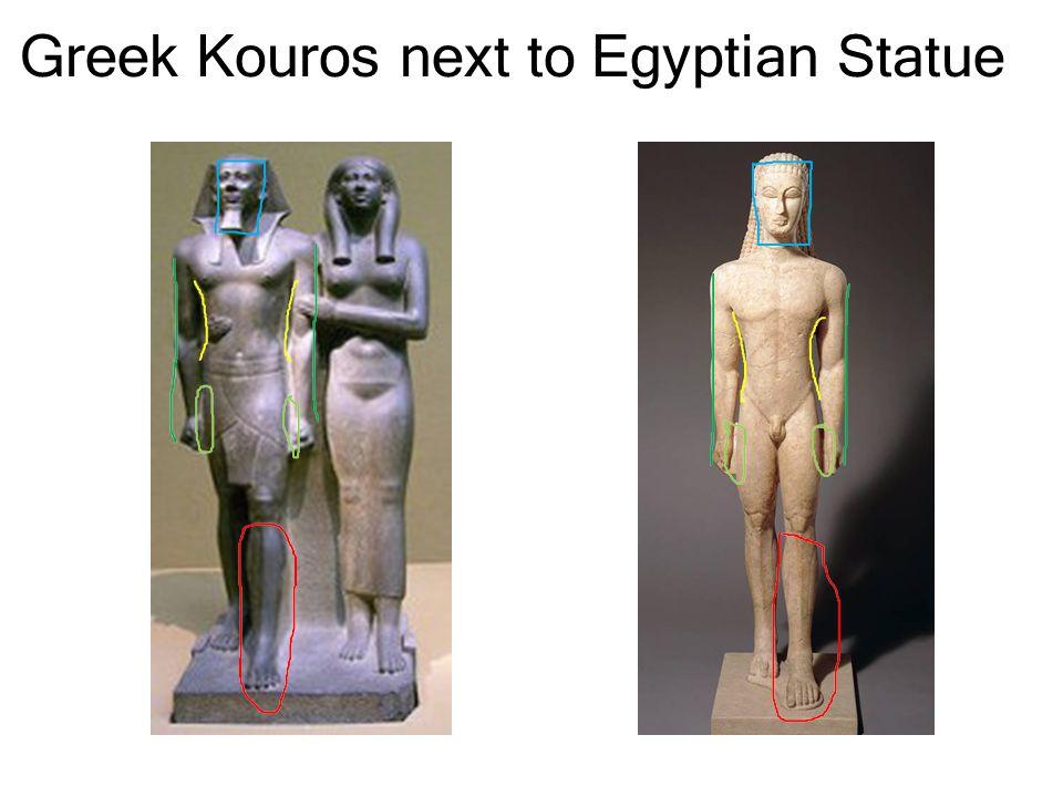 Greek Kouros next to Egyptian Statue