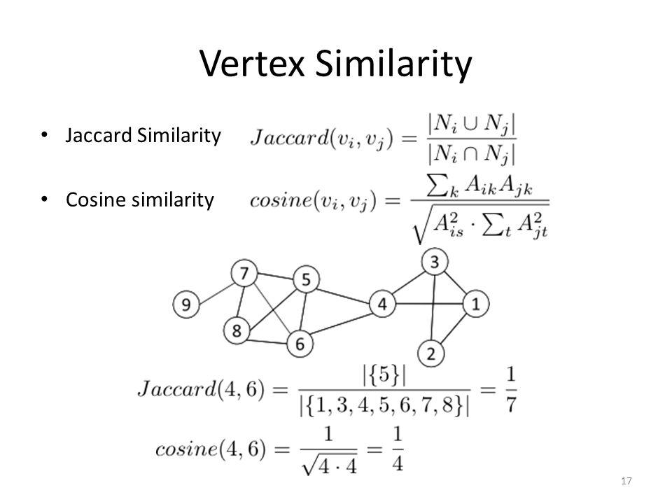 Vertex Similarity Jaccard Similarity Cosine similarity 17