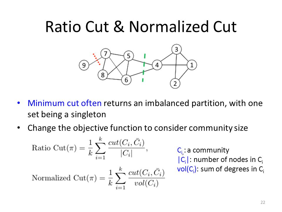 Ratio Cut & Normalized Cut Minimum cut often returns an imbalanced partition, with one set being a singleton Change the objective function to consider
