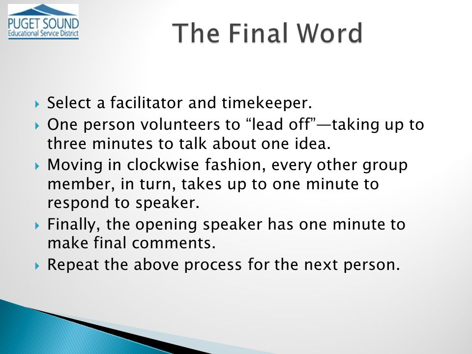  Select a facilitator and timekeeper.