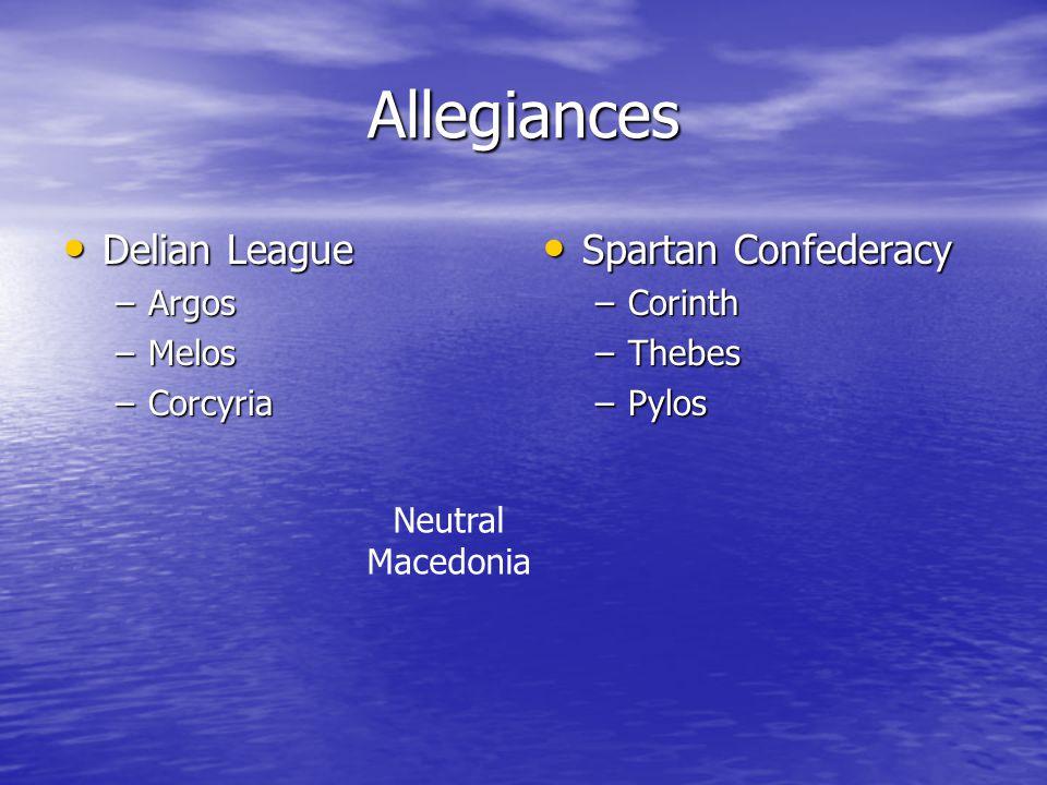 Allegiances Delian League Delian League –Argos –Melos –Corcyria Spartan Confederacy Spartan Confederacy –Corinth –Thebes –Pylos Neutral Macedonia