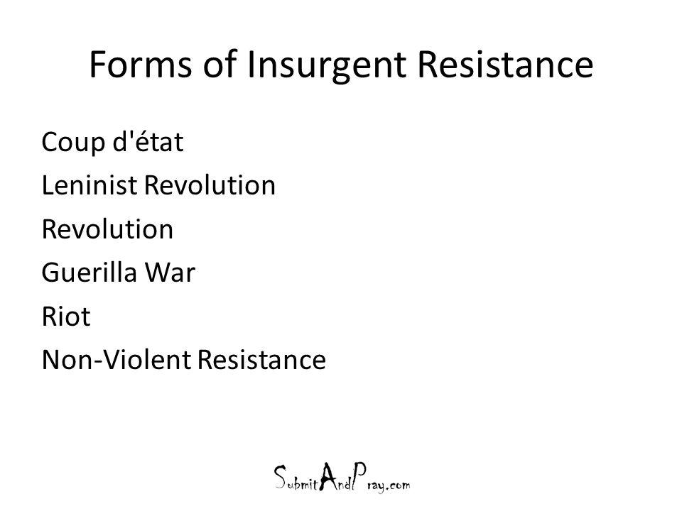 Forms of Insurgent Resistance Coup d état Leninist Revolution Revolution Guerilla War Riot Non-Violent Resistance