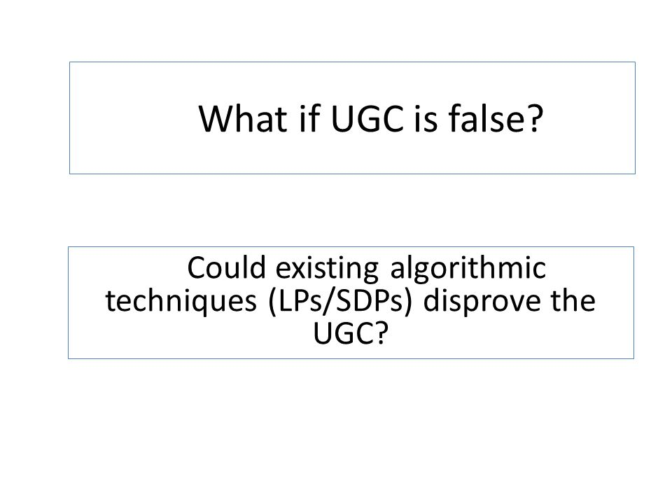 What if UGC is false? Could existing algorithmic techniques (LPs/SDPs) disprove the UGC?