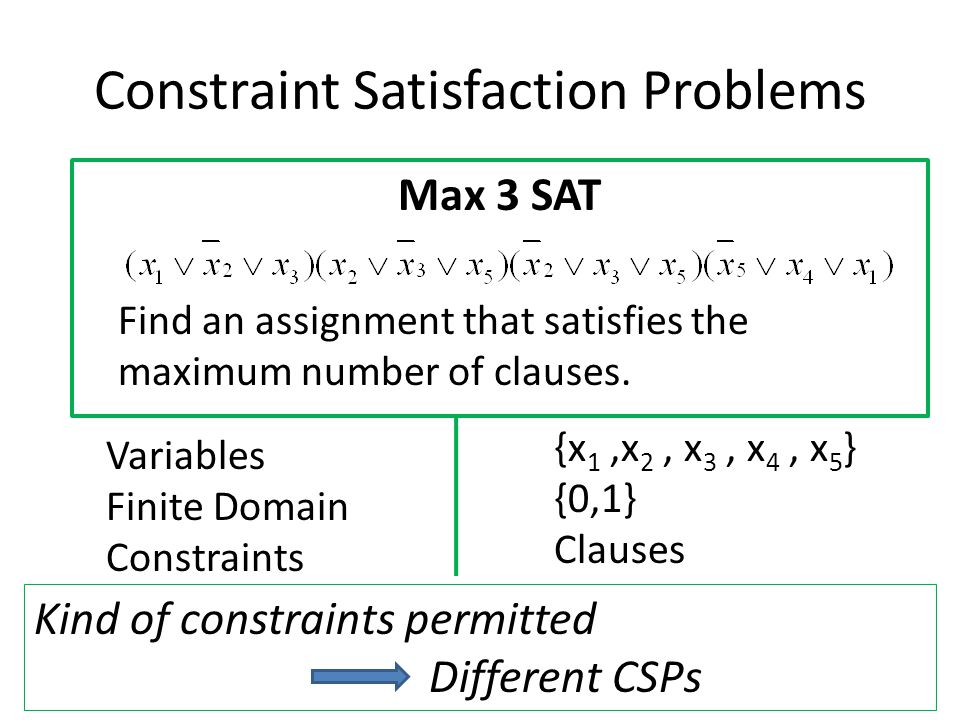 Constraint Satisfaction Problems Max 3 SAT Find an assignment that satisfies the maximum number of clauses. Variables Finite Domain Constraints {x 1,x