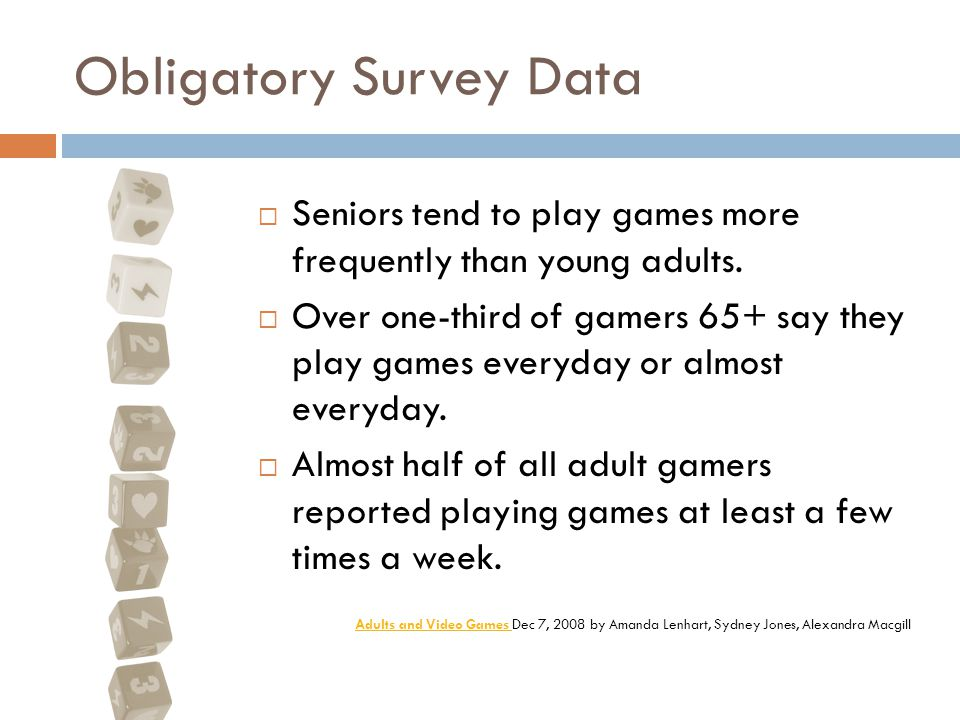 Obligatory Survey Data  Seniors tend to play games more frequently than young adults.