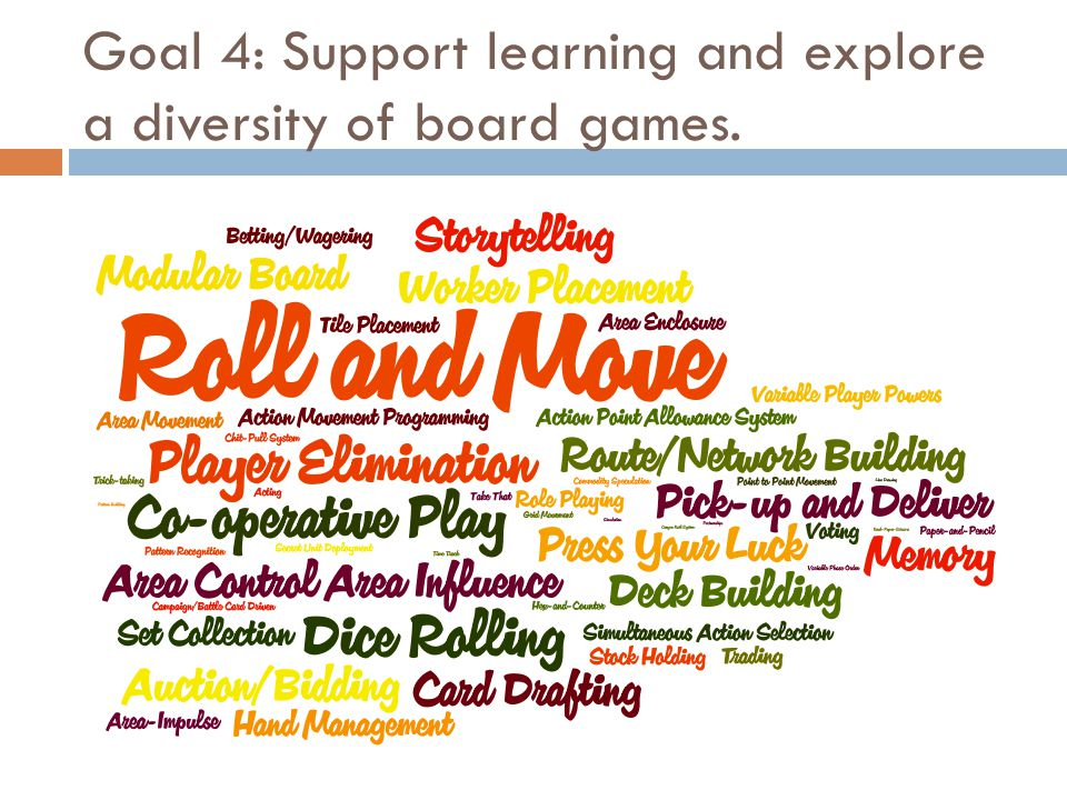 Goal 4: Support learning and explore a diversity of board games.