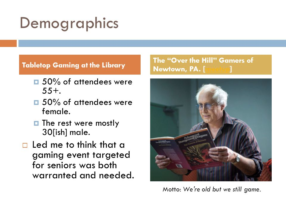Demographics  50% of attendees were 55+.  50% of attendees were female.