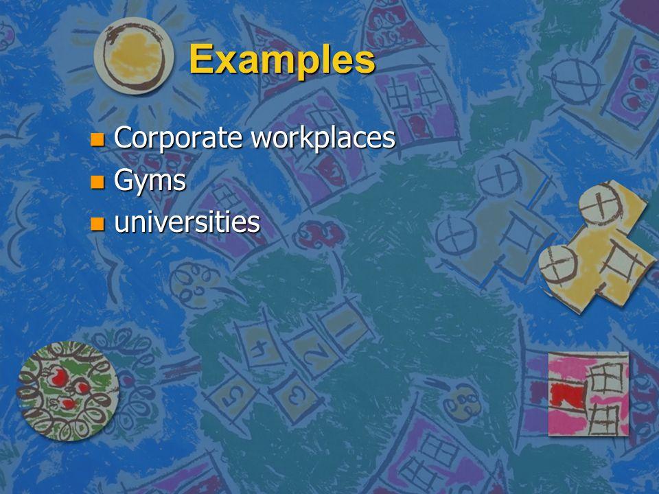 Examples n Corporate workplaces n Gyms n universities