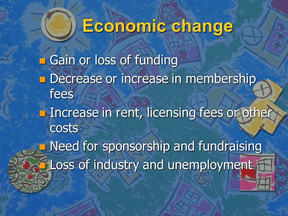 Economic change n Gain or loss of funding n Decrease or increase in membership fees n Increase in rent, licensing fees or other costs n Need for spons