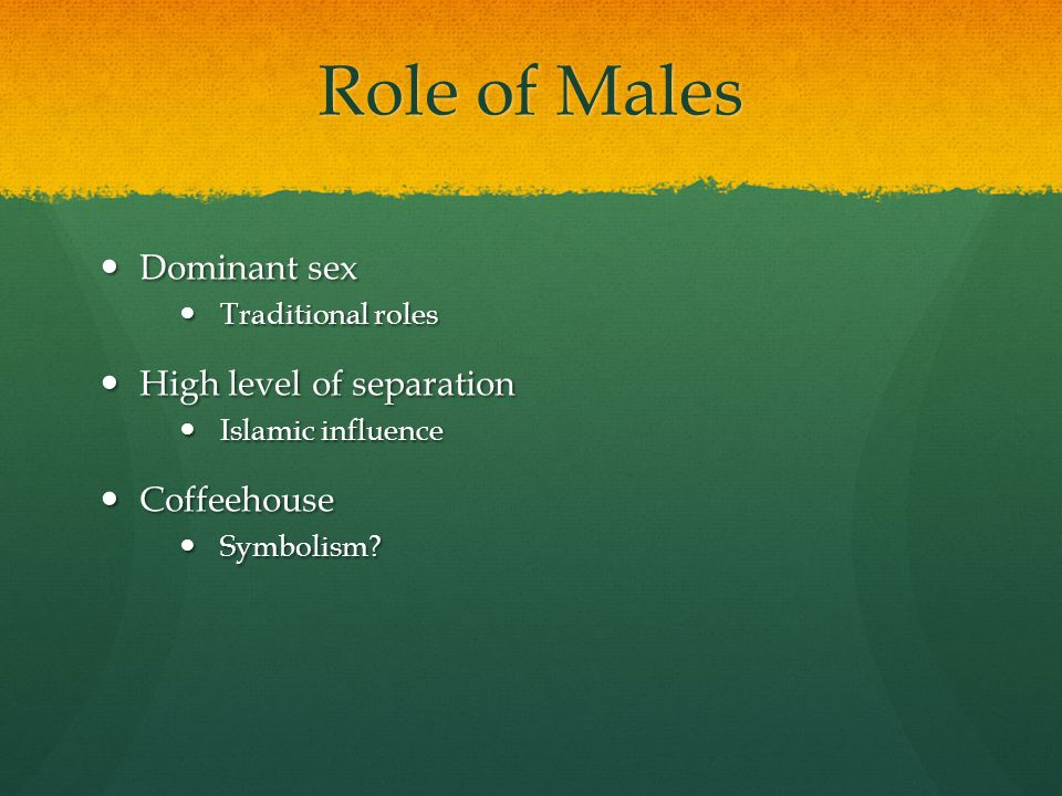 Role of Males Dominant sex Dominant sex Traditional roles Traditional roles High level of separation High level of separation Islamic influence Islami