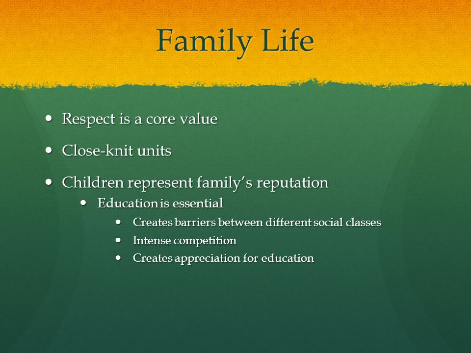 Family Life Respect is a core value Respect is a core value Close-knit units Close-knit units Children represent family's reputation Children represent family's reputation Education is essential Education is essential Creates barriers between different social classes Creates barriers between different social classes Intense competition Intense competition Creates appreciation for education Creates appreciation for education