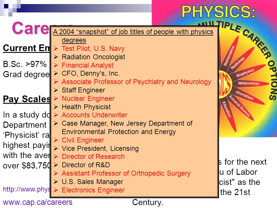 www.uwindsor.ca/physics Careers http://www.physicstoday.org/jobs www.cap.ca/careers Current Employment Levels B.Sc.