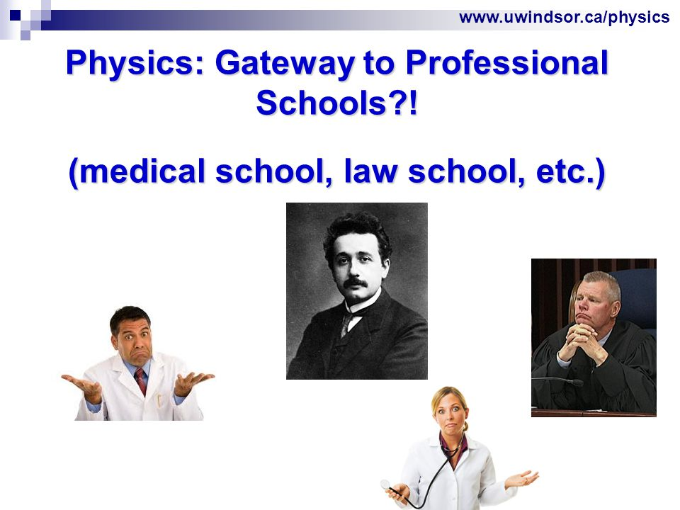 www.uwindsor.ca/physics Physics: Gateway to Professional Schools .