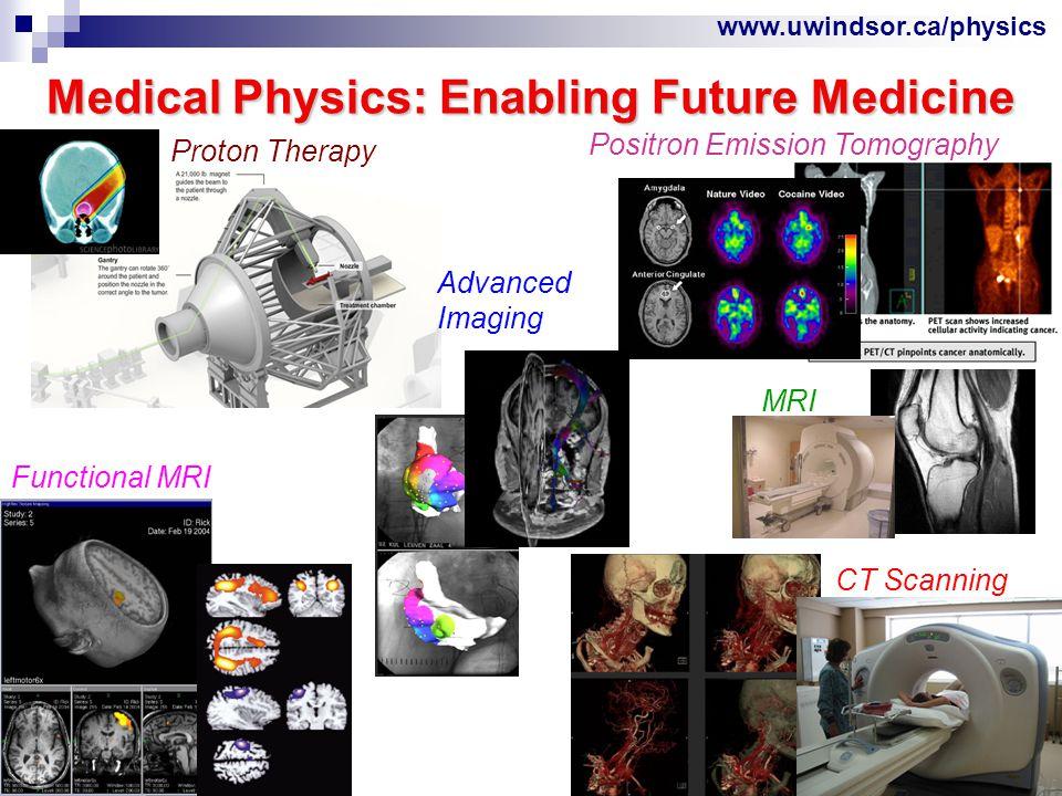 www.uwindsor.ca/physics The Medical Physicist Bridges Physics and Medicine