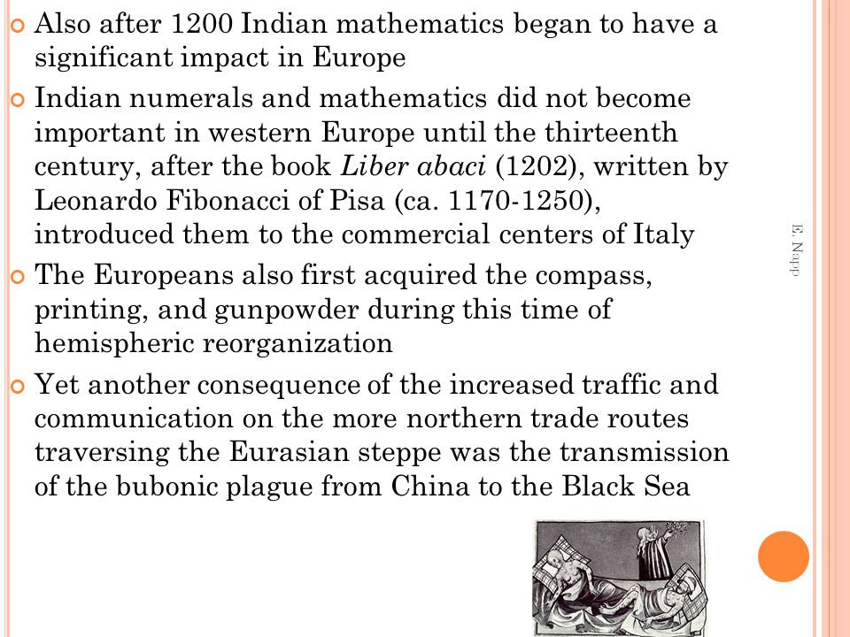 Also after 1200 Indian mathematics began to have a significant impact in Europe Indian numerals and mathematics did not become important in western Eu
