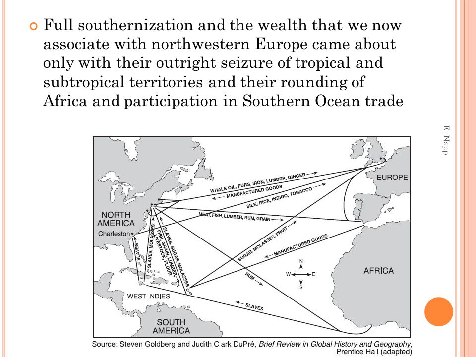 Full southernization and the wealth that we now associate with northwestern Europe came about only with their outright seizure of tropical and subtrop