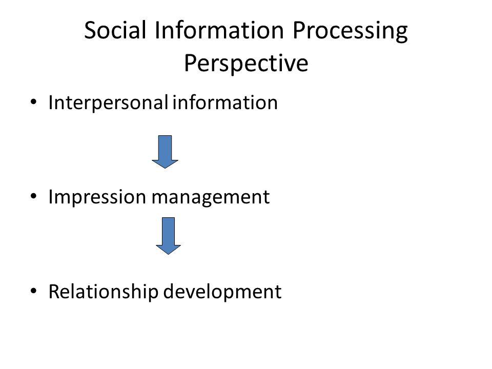 Social Information Processing Perspective Interpersonal information Impression management Relationship development
