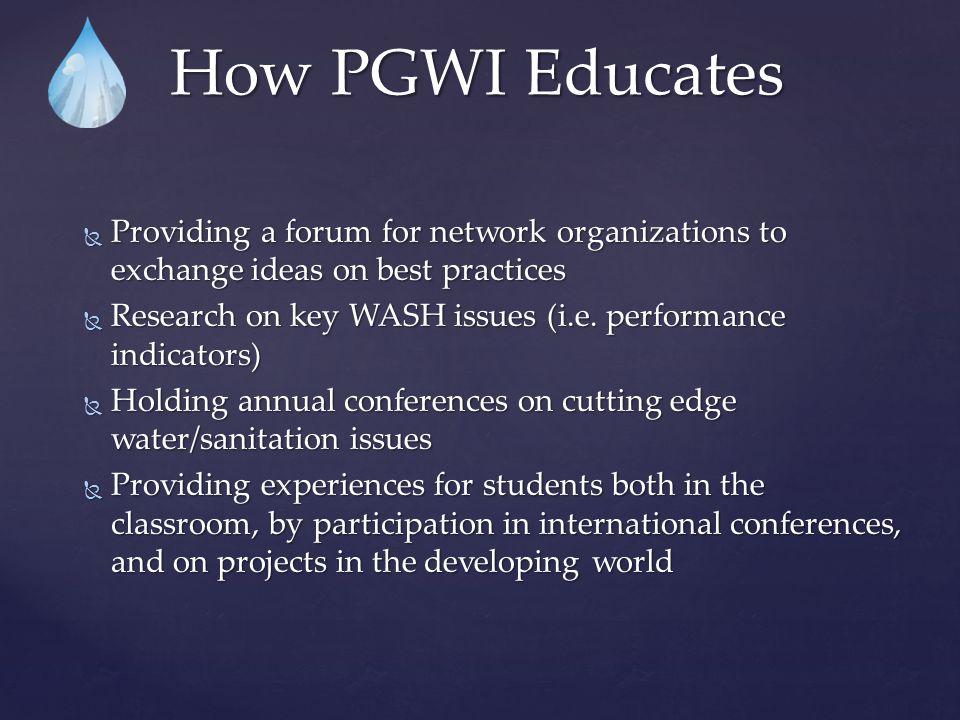 Organizations In The PGWI NETWORK Dr. Arun Deb