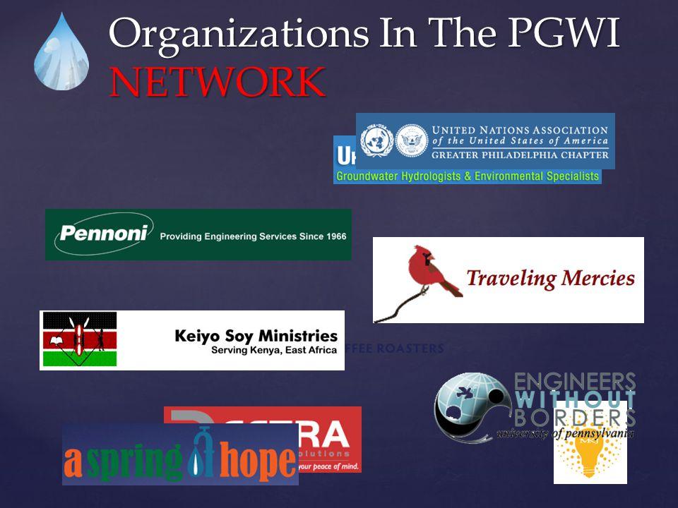 Organizations In The PGWI NETWORK  Government:  City of Philadelphia Water Department (FWWIC)  Delaware River Basin Commission  US EPA  Pennsylvania DEP  Academia:  University of Pennsylvania  Drexel University School of Public Health