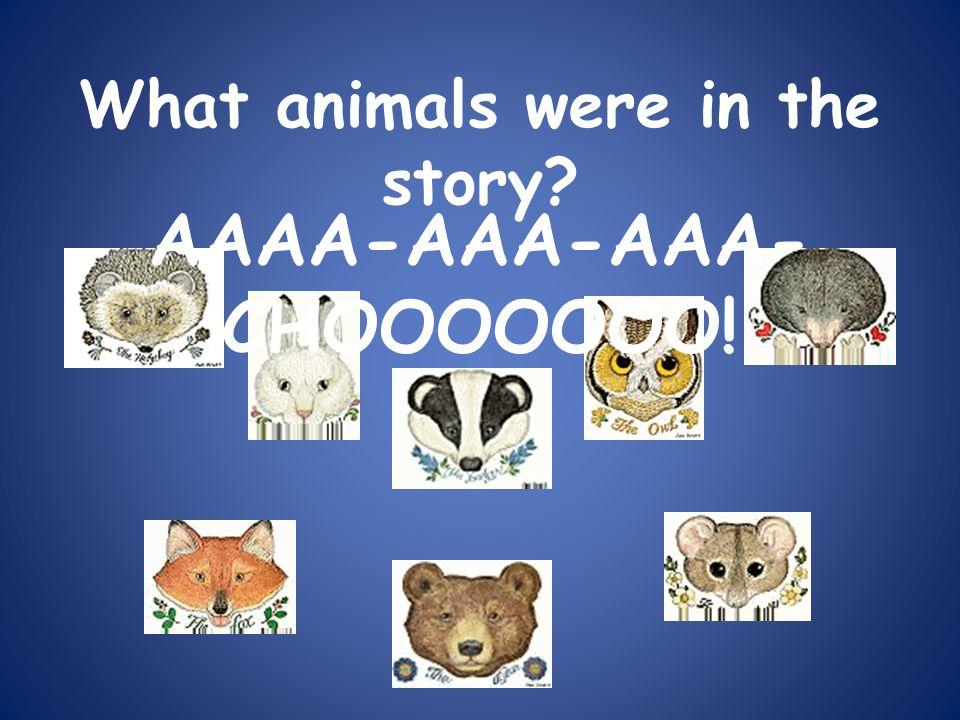 What animals were in the story? AAAA-AAA-AAA- CHOOOOOOO!