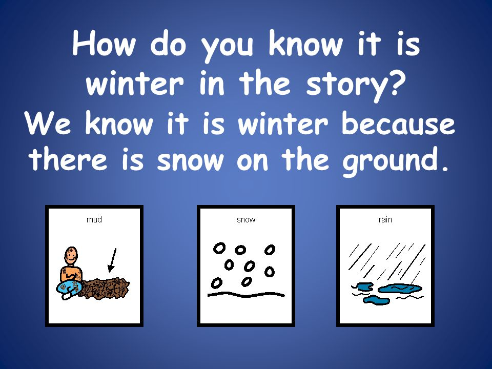 How do you know it is winter in the story? We know it is winter because there is snow on the ground.