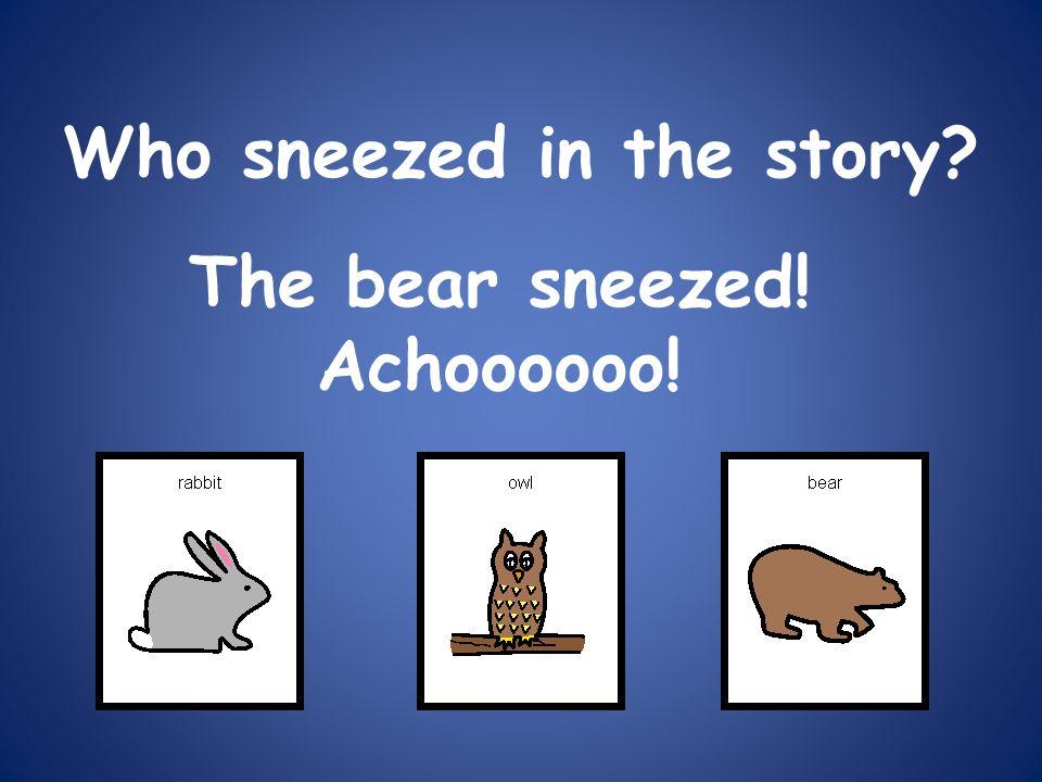 Who sneezed in the story? The bear sneezed! Achoooooo!