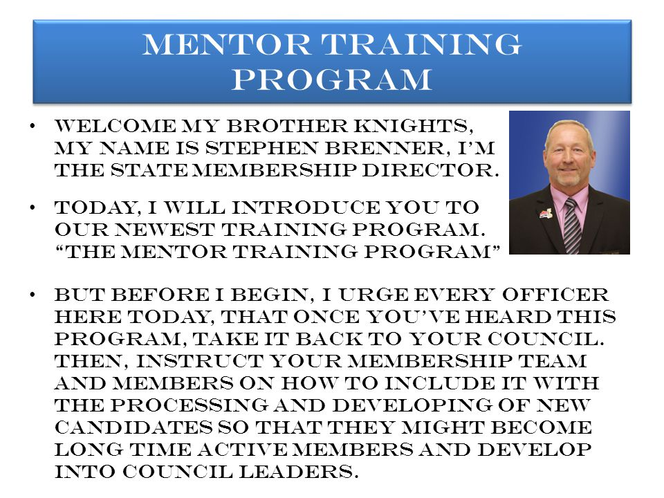 Brothers, these are the basic concepts of the mentoring training program.