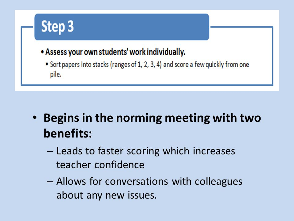 Begins in the norming meeting with two benefits: – Leads to faster scoring which increases teacher confidence – Allows for conversations with colleagues about any new issues.
