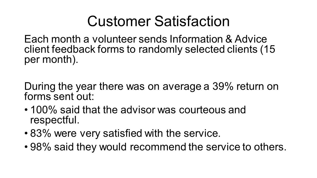 Customer Satisfaction Each month a volunteer sends Information & Advice client feedback forms to randomly selected clients (15 per month). During the