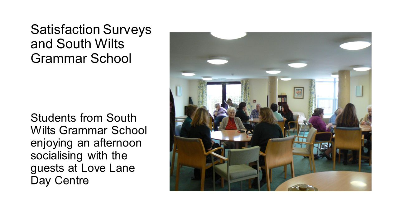 Satisfaction Surveys and South Wilts Grammar School Students from South Wilts Grammar School enjoying an afternoon socialising with the guests at Love