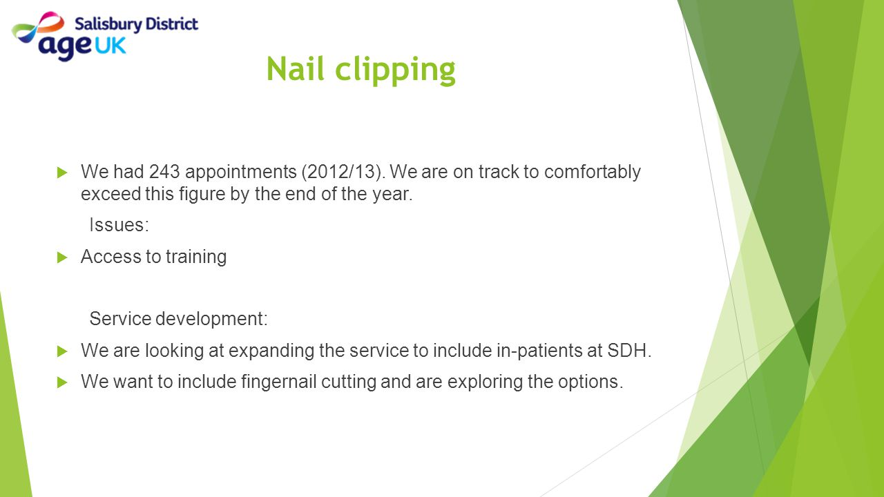 Nail clipping  We had 243 appointments (2012/13). We are on track to comfortably exceed this figure by the end of the year. Issues:  Access to train