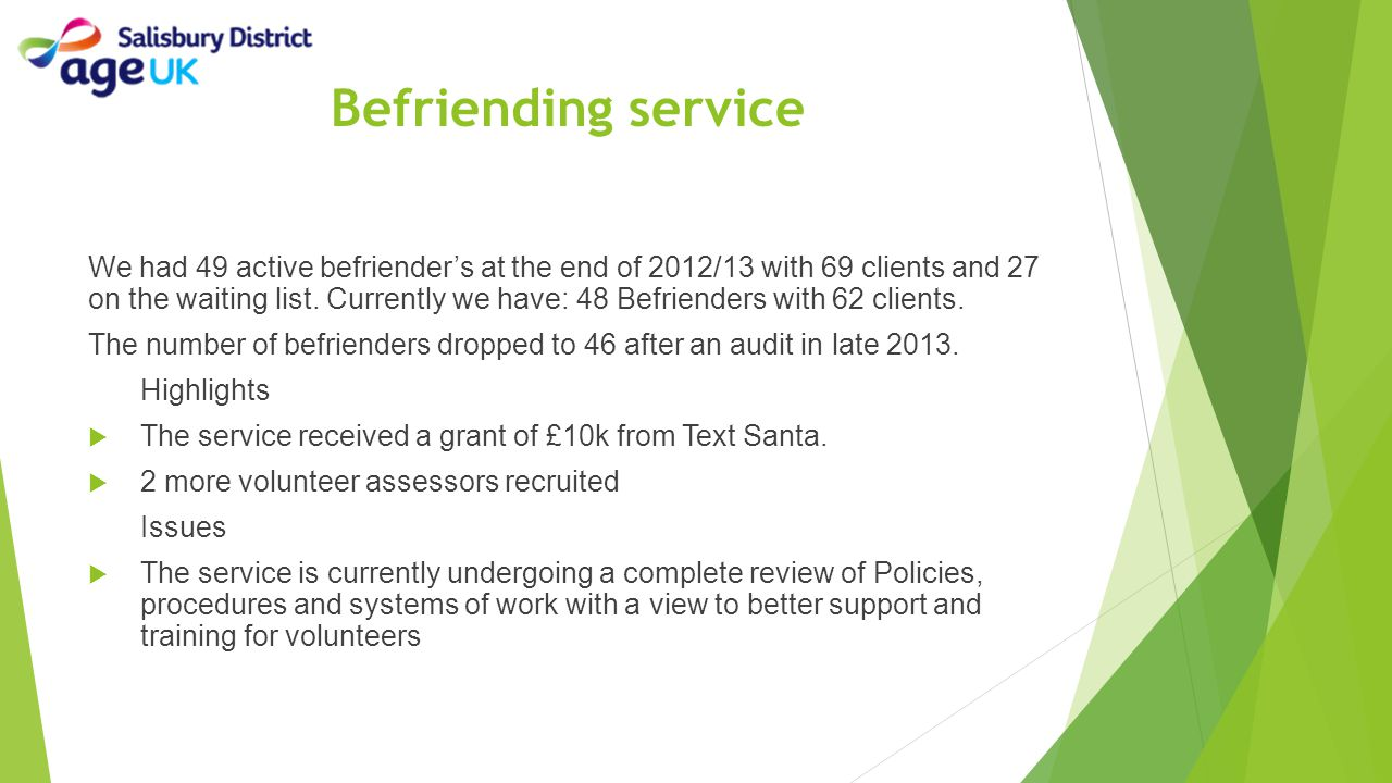 Befriending service We had 49 active befriender's at the end of 2012/13 with 69 clients and 27 on the waiting list. Currently we have: 48 Befrienders