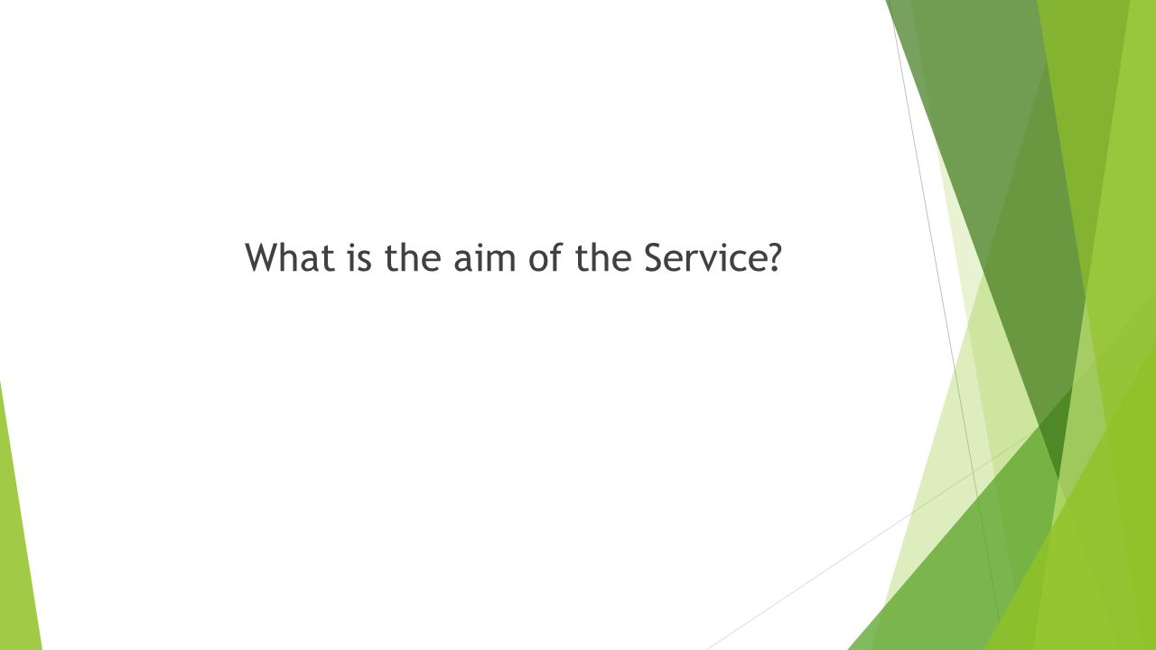 What is the aim of the Service?