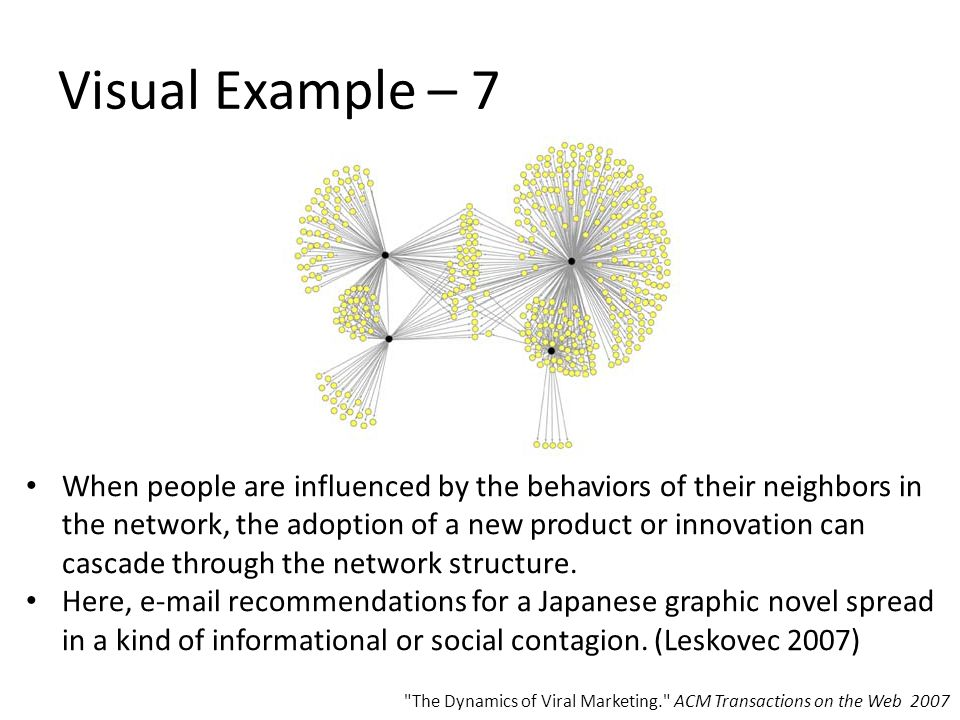Visual Example – 7 When people are influenced by the behaviors of their neighbors in the network, the adoption of a new product or innovation can cascade through the network structure.