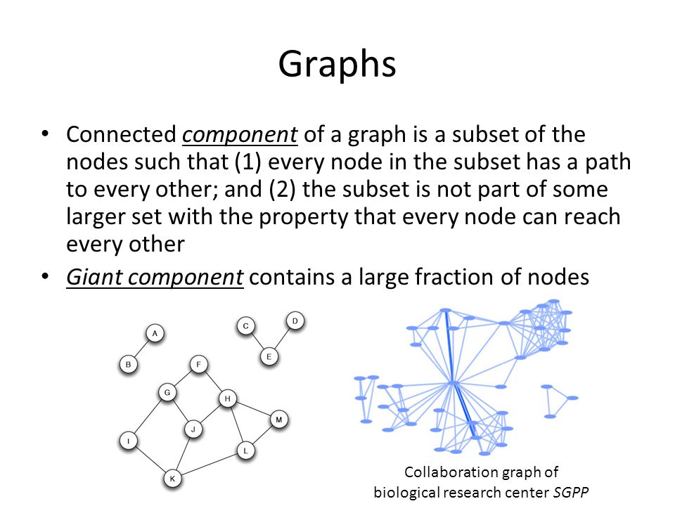 Graphs Connected component of a graph is a subset of the nodes such that (1) every node in the subset has a path to every other; and (2) the subset is not part of some larger set with the property that every node can reach every other Giant component contains a large fraction of nodes Collaboration graph of biological research center SGPP
