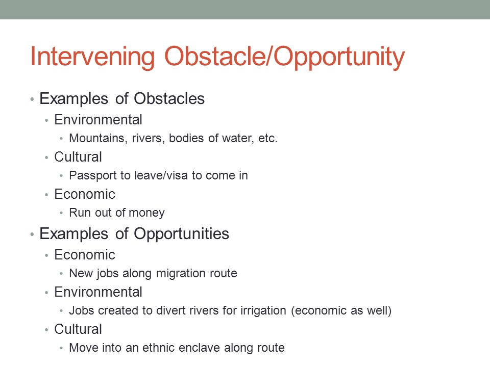 Intervening Obstacle/Opportunity Examples of Obstacles Environmental Mountains, rivers, bodies of water, etc. Cultural Passport to leave/visa to come