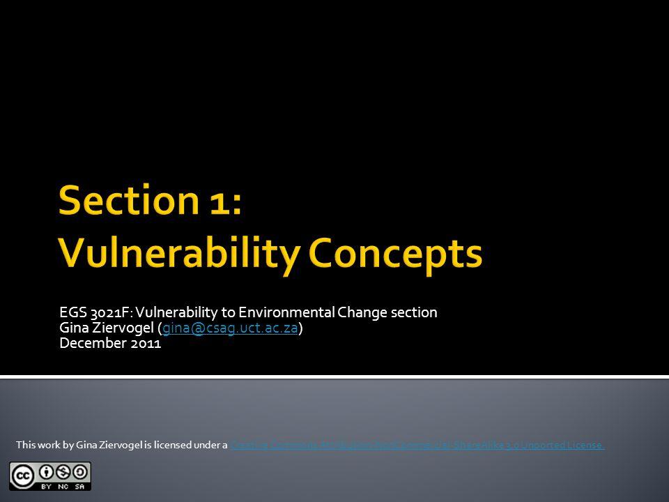 EGS 3021F: Vulnerability to Environmental Change section Gina Ziervogel (gina@csag.uct.ac.za)gina@csag.uct.ac.za December 2011 This work by Gina Zierv