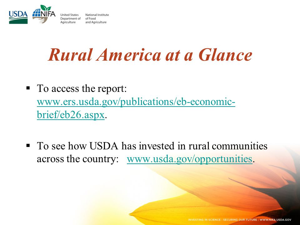 Rural America at a Glance  To access the report: www.ers.usda.gov/publications/eb-economic- brief/eb26.aspx.