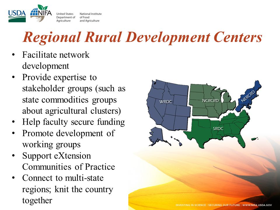 Facilitate network development Provide expertise to stakeholder groups (such as state commodities groups about agricultural clusters) Help faculty secure funding Promote development of working groups Support eXtension Communities of Practice Connect to multi-state regions; knit the country together Regional Rural Development Centers