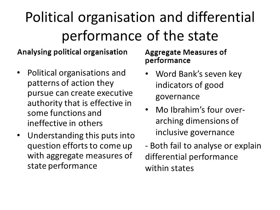 Political organisation and differential performance of the state Analysing political organisation Political organisations and patterns of action they pursue can create executive authority that is effective in some functions and ineffective in others Understanding this puts into question efforts to come up with aggregate measures of state performance Aggregate Measures of performance Word Bank's seven key indicators of good governance Mo Ibrahim's four over- arching dimensions of inclusive governance - Both fail to analyse or explain differential performance within states